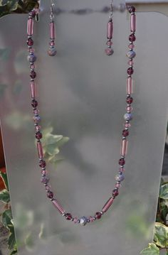 Purple Necklace and Earring Set by JewelryArtByGail on Etsy