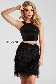 jovani 55053 2-Piece in Black Sequin w/Feather Skirt for Spring 2018
