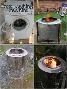 Old Washing Machine Drum Repurposed as a Fire Pit; - Old Washing Machine Drum Repurposed as a Fire Pit; - DIY Wood Stove made from Tire Rims Trend: je oude wasmachinetrommel als meubelstuk? Fire Pit Drum, Fire Pit Bench, Diy Fire Pit, Fire Table, Garden Fire Pit, Fire Pit Backyard, Washing Machine Drum, Washing Machines, Outside Fire Pits