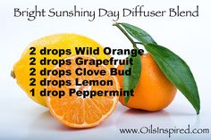 Bright Sunshiny Day Diffuser Blend - visit www.oilsinspired.com to learn more and order oils!