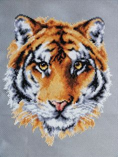 Tiger Face by *Devi-Tiger on deviantART Category: Cross Stitch & Embroidery Cross Stitching, Cross Stitch Embroidery, Hand Embroidery, Cross Stitch Patterns, Feather Drawing, Peler Beads, Tiger Face, Cross Stitch Love, Hama Beads