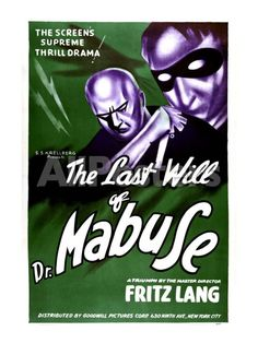 The Testament Of Dr. Mabuse) 1933 Movie Poster Masterprint x Horror Movie Posters, Cinema Posters, Horror Films, Film Posters, Movie Pic, We Movie, Fritz Lang, Vintage Horror, Sci Fi Movies