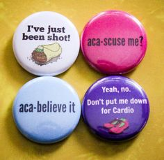 "Pitch Perfect Set of 4 - 1"" Pinback Buttons. Available on A2P2 on Etsy!"