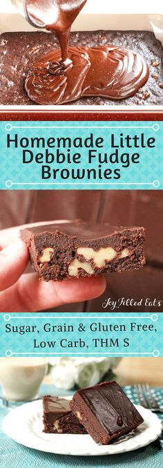 Homemade Little Debbie Fudge Brownies - Low Carb, Grain Sugar Gluten Free, THM S - My Homemade Little Debbie Fudge Brownies are a better than copycat version of those favorite lunch box treats. They are low carb, grain gluten and sugar free, and a THM S recipe.