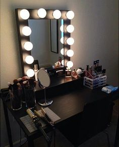 Black Makeup Vanity Table With Lighted Mirror.Chende White Hollywood Makeup Vanity Mirror With Light . Lighted Vanity Mirror Table Home Design Ideas. Bedroom: Cozy Makeup Table Walmart For Modern In Bedroom . Makeup Vanities, Black Makeup Vanity, Makeup Vanity Lighting, Makeup Table Vanity, Vanity Room, Vanity Desk, Vanity Tables, Black Makeup Room, Black Makeup Table