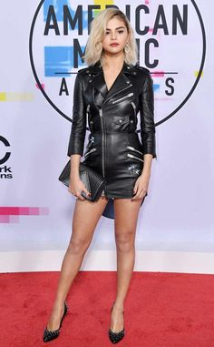 Selena Gomez from 2017 American Music Awards: Red Carpet Fashion  New hair, new SelGo! The pop singer arrives to the 2017 AMAs rocking an edgy AF look.