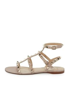 96008400a Valentino - Rockstud Leather Flat Sandal Valentino Flat Sandals