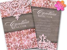 Real Estate Business Card Realtor Vintage Damask Printing 100 cards