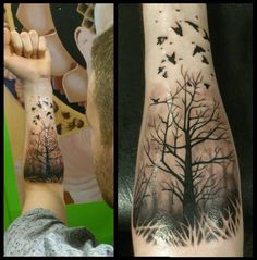 Flying Birds And Forest Tree Tattoo On Left Forearm