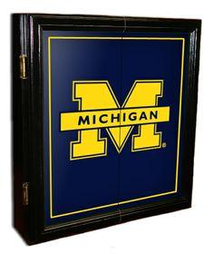 Michigan Wolverines MVP dartboard cabinet