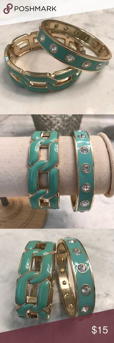 💥REDUCED💥 Enamel Bracelets Set of 2 enalemed, hinged bangle bracelets. Mint green enamel with gold hardware. One has clear rhinestones all the way around (no stones missing). Great condition, hinges are sturdy! Jewelry Bracelets
