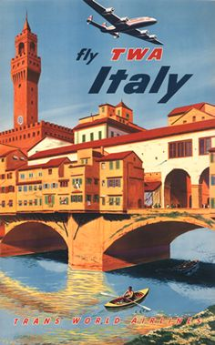 Italy with TWA (Constellation shown above Florence), circa 1950