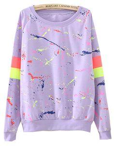 Purple Long Sleeve Paint Print Loose Sweatshirt US$23.77