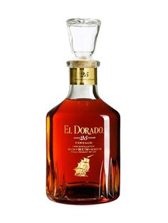 El Dorado 25 Year Old Vintage Demerara Rum Liquor Bottles, Glass Bottles, Perfume Bottles, El Dorado Rum, Spiced Rum, 25 Years Old, Wine And Spirits, Bottle Design, Bottle Labels