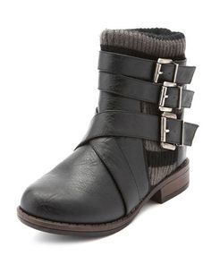 Triple Buckle Sweater Ankle Boot: Charlotte Russe