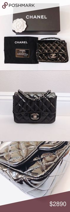 Chanel mini square classic flap patent leather bag 100% authentic. Comes  with dust bag aef8bae62a