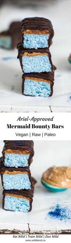 Mermaid food  is the latest Instagram food craze taking the  social media world by storm. Thanks to superfoods like blue spirulina  you can now have your very own Ariel-approved treats sans artificial colouring and refined sugar. Get the full recipe here: http://www.wildblend.co/single-post/Mermaid-Bounty-Bars
