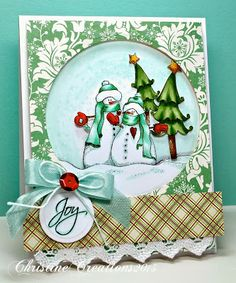 ChristineCreations Beautiful stamped and colored Christmas card.