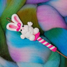 Bunny Rabbit Spinning Wheel Orifice Hook  Polymer by TheClaySheep (Craft Supplies & Tools, Fiber & Textile Art Supplies, Spinning, Tools, bunny, rabbit, hook, tool, spinning, knitting, crochet, fiberindiexp, polymer clay, white, pink, accessory)