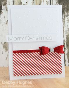 Christmas Card design inspiration. I love the diagonal red stripes and the glitter bow! Perfect for our family Christmas card!