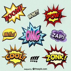 Comic sound effects in pop art vector style. Sound bubble speech with word and comic cartoon expression sounds illustration vector Comic Kunst, Comic Art, Comic Books, Arte Pop, Comic Sound Effects, Cartoon Expression, Book Works, Superhero Party, Medium Art