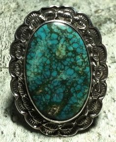 Vintage Old Pawn Navajo Sterling Silver 8 Mine Spiderweb Turquoise Ring