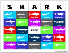 Relentlessly Fun, Deceptively Educational: SHARK bingo game [free printable] use swedish fish for markers Shark Pool, Shark Bait, Baby Shark, Shark Activities, Library Activities, Shark Games For Kids, Learning Activities, Shark Week Crafts, Bingo Games Free