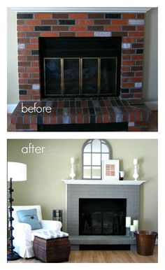 Updated dated brick and brass fireplace door with paint. Easy and cheap way to makeover a fireplace. -possibility for family room Fireplace Doors, Fireplace Update, Paint Fireplace, Home Fireplace, Fireplace Remodel, Painted Brick Fireplaces, Fireplace Makeovers, Grey Fireplace, Fireplace Ideas