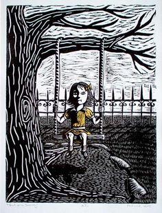 \Girl on a Swing by MCKINZIE LEFSTEIN, 2002, linoleum block print, chine colle