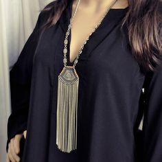 Colar Zanna - Beth Souza Acessórios, colar longo em metal prata com franjas longas verão 2016