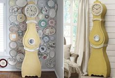 "HUGE Distressed Yellow Mora Clock. 20"" x 9"" x 75.5"" H. $426. I'd paint it white or light blue."