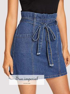 Shop Paperbag Waist Denim Skirt With Belt online. SHEIN offers Paperbag Waist Denim Skirt With Belt & more to fit your fashionable needs. To find out about the Paperbag Waist Denim Skirt With Belt at SHEIN, part of our latest Denim Skirts ready to shop on Denim Skirt Outfits, Denim Outfit, Demin Skirt, High Waisted Denim Skirt, Denim Dresses, Skirt Belt, Sabo Skirt, Corduroy Skirt, Denim Overalls