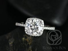 Barra 7.5mm Size Platinum Round FB Moissanite Cushion Halo Engagement Ring (Other metals and stone options available)