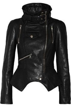 ALEXANDER MCQUEEN Textured-leather biker jacke
