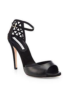 Diane von Furstenberg Rowan Leather & Cutout Suede Sandals