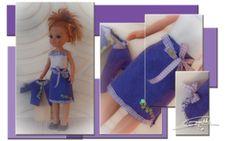 de paseo con la muñeca, conjunto de tres pizas en lila y blanco. www.elpetitvestidor.jimdo.com