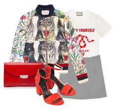 """R E D"" by ksasya on Polyvore featuring Gucci, Monki, CÉLINE, Alexander Wang, red, skirt, bomberjacket and gucci"