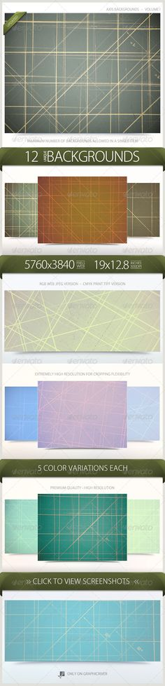 """Axis Backgrounds Volume 1  #GraphicRiver           Axis Backgrounds Volume 1 This set of premium, high-resolution backgrounds contains 12 unique designs. Each background includes 5 color variations for a total of 60 backgrounds. These Line / Axis backgrounds are perfect for any type of Print or Web project. Included in this Volume   12 RGB 72DPI JPEG Web Backgrounds  12 CMYK 300DPI LZW TIFF Print Backgrounds  5760×3840 Pixels  19"""" x 12.8"""" Inches  5 Color Variations Each  60 Total Backgrounds…"""
