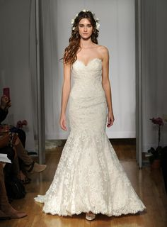 Nice Mori Lee Fall wedding dress sweetheart lace neckline and bodice fit and flare lace