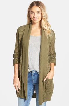 BP.+Long+Textured+Open+Cardigan+(Juniors)+available+at+#Nordstrom