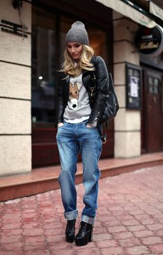Boyfriendy jeans so i can do just that with my spiked litas..... dress them down. rocker style outfit inspiration