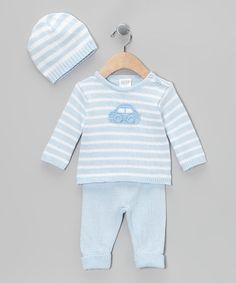 Look what I found on #zulily! Blue Stripe Car Knit Sweater Set #zulilyfinds