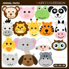 """http://www.mygrafico.com/cliparts/animal-faces-clipart/prod_11492.html Animal Faces Clipart This cute set of """"Animal Faces"""" comes with 16 graphics including a monkey, a pig, a frog, a sheep, a zebra, a lion, a tiger, a cow, an elephant, a giraffe, a hippo, a duck, an owl, a panda, a dog and a cat."""