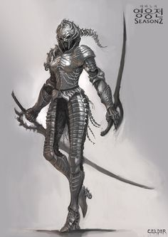 I love the sort of samurai look to this armor - but without the helmet. Fantasy Armor, Medieval Fantasy, Dark Fantasy, Female Armor, Female Knight, Lady Knight, Dnd Characters, Fantasy Characters, Armor Concept