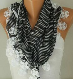 Black & White Polka Dot Chiffon ScarfChristmas Gift Shawl #blackfriday #scarf