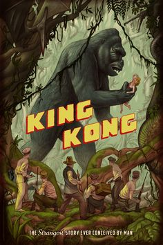 Merian C. Cooper and Ernest B. Schoedsack's King Kong Poster by Jonathan Burton. Skull Island, King Kong 1933, Movies And Series, Merian, Classic Horror Movies, Classic Monsters, Alternative Movie Posters, Weird Stories, New Poster