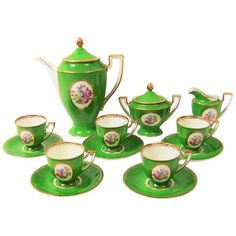 """For Sale on - Complete porcelain/china coffee set……coffee pot, creamer, sugar bowl and 5 cups and saucers.""""Germany""""……""""US Coffee Service, Tea Service, Dallas, White Clay, Coffee Set, Coat Of Arms, China Porcelain, Vintage Green, Tea Set"""