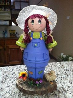 Clay pot girl - 2 large and 2 small pots, 1 ballTerra Cotta Flower Pot People - My siteWe still have summer time to decorate the garden, and the clay pots seem to be the easiest thing to do. Assuming we also have teaching materials, Flower Pot Art, Clay Flower Pots, Terracotta Flower Pots, Flower Pot Crafts, Clay Pot Projects, Clay Pot Crafts, Diy Clay, Flower Pot People, Clay Pot People