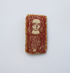 darker red portrait brooch - embroidery stitch artwork - young woman