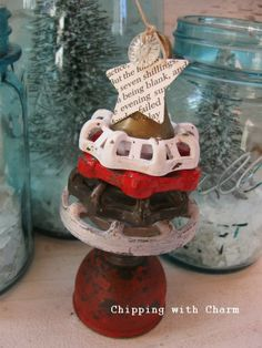 Chipping with Charm: Stacked Faucet Knob Mini Tree...http://www.chippingwithcharm.blogspot.com/